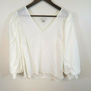 A New Day White V Neck Puff Sleeve Peasant Top